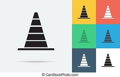 apartamento, sete, cones, ícones, vetorial, estacionamento