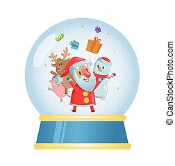 apartamento, seu, bola, santa, experiência., isolado, vidro, vetorial, feliz, friends., christmas branco, illustration.
