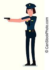 apartamento, seu, polícia, policewoman, isolado, ilustração, arma, experiência., vetorial, desenho, oficial, job., branca, mão, caricatura, hands.