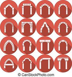 apartamento, silueta, ícones, cobrança, vetorial, arco