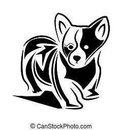 apartamento, silueta, cão, desenho, logotipo, modelo, estoque