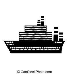 apartamento, silueta, grande, pretas, cruzeiro, desenho, navio, ícone