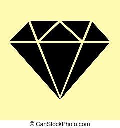 apartamento, sinal., diamante, estilo, ícone