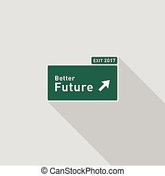 apartamento, sinal direção, futuro, desenho, estrada, rodovia