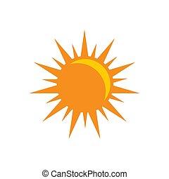 apartamento, sol, -, isolado, sunligth, símbolo., experiência., vetorial, ilustração, branca, sinal, ícone