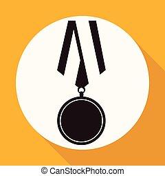 apartamento, sombra, medalha, longo, ícone
