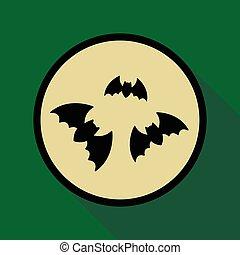 apartamento, sombra, morcegos, ícone