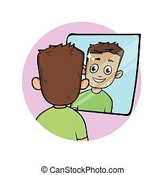 apartamento, sorrindo, seu, reflexão, jovem, isolado, olhar, experiência., vetorial, espelho., homem, branca, illustration.