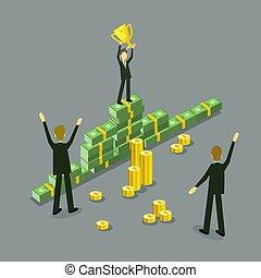 apartamento, sucesso, lucro, vetorial, homem negócios, realização