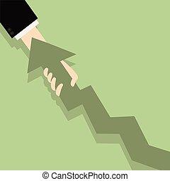 apartamento, sucesso, negócio, puxar, gráfico, concept., mapa, ilustração, crescimento, seta, homem negócios, progresso, mão., melhorar