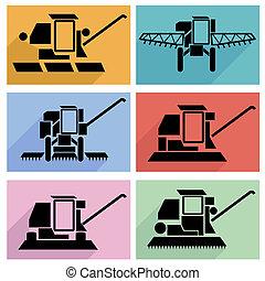 apartamento, symbols., illustration., ícones, veículos, longo, vetorial, combinar, cobrança, agrícola, shadow., colher