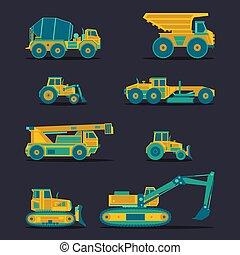 apartamento, symbols., jogo, ícones, vehicles., engenharia, vetorial, estrada, industrial, construção, signs., maquinaria