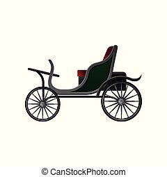 apartamento, táxi, passageiros, vindima, grande, assento, carruagem, vetorial, verde, veículo, pequeno, horse-drawn, abertos, wheels., vermelho, ícone