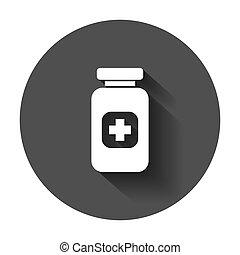 apartamento, tabuleta, ilustração médica, pílula, vetorial, longo, garrafa, concept., style., shadow., ícone