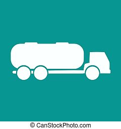 apartamento, tanque, simples, vetorial, carro., branca, reboque, ícone