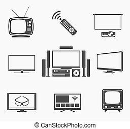 apartamento, teatro, ícones, tela tv, retro, lar, esperto