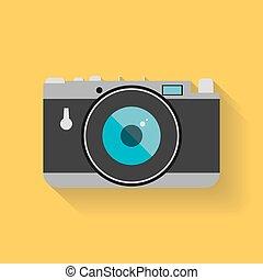apartamento, teia, câmera foto, retro, ícone