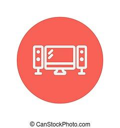 apartamento, tela televisão, orador, linha magra, ícone