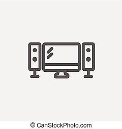 apartamento, tela televisão, oradores, linha magra, ícone