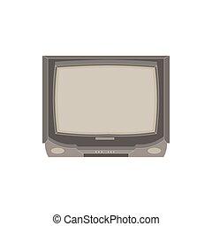 apartamento, televisão, illustration., ícone, tv, vindima, isolated., vetorial, desenho, retro, vista dianteira, exposição, elétrico
