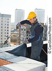 apartamento, telhado, cobertura, trabalhos, com, telhado,...