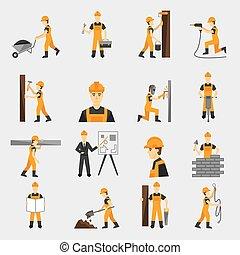 apartamento, trabalhador construção, ícones