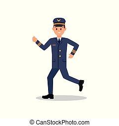 apartamento, trabalhando, jovem, isolado, executando, vetorial, desenho, action., profissional, avião, aviador, uniform., piloto