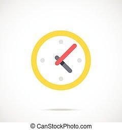 apartamento, trabalhando, relógio, tempo, icon., dia