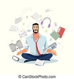apartamento, trabalho, meditar, caos, vetorial, homem negócios