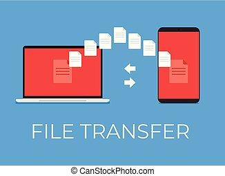 apartamento, transferência, laptop., ilustração, telefone, vetorial, arquivo, entre, caricatura, ícone