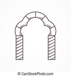 apartamento, trefoil, vetorial, linha, arco, ícone