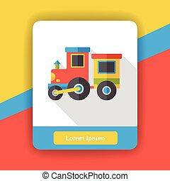 apartamento, trem, brinquedo, ícone