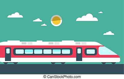 apartamento, trem, vetorial, desenho, ilustração