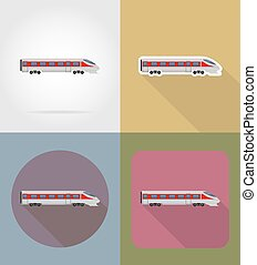 apartamento, trem, vetorial, ilustração, ícones