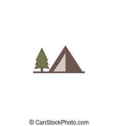 apartamento, uso, illustration., ícone, sólido, barraca, isolado, creation., símbolo., experiência., vetorial, aventura, monocromático, logotipo, branca, design., estoque
