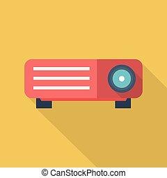 apartamento, uso, jogo, multimedia, projetor, ícones, conceito, grande,  , estilo, longo, tecnologia, lcd, muito, more., sombra, animação, ícone