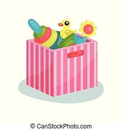 apartamento, vectir, ícone, de, cor-de-rosa, listrado, recipiente, cheio, de, crianças, toys., piramide, com, coloridos, anéis, pato borracha, cubo, e, flor