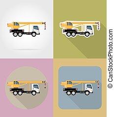apartamento, vetorial, ícones, ilustração, construção, caminhão, guindaste