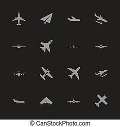 apartamento, vetorial, -, aviões, ícones