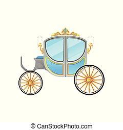apartamento, vetorial, cab., dourado, vindima, real, carruagem, lanternas, ornamentos, veículo, pequeno, decorado, horse-drawn, ícone
