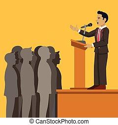 apartamento, vetorial, caricatura, speaker., público