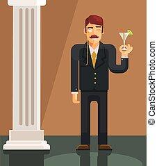 apartamento, vetorial, cavalheiro, ilustração