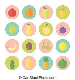 apartamento, vetorial, circular, ícones, para, projeto teia, frutas, e, bagas