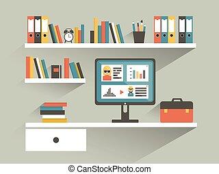 apartamento, vetorial, computador, shelves., escritório, livro, desenho, local trabalho, illustration.