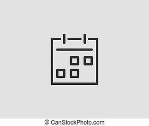 apartamento, vetorial, desenho, calendário, linha, ícone