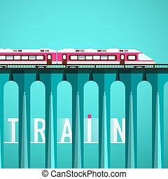 apartamento, vetorial, illustration., alto, trem, desenho, estrada ferro, bridge.