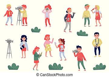 apartamento, vetorial, jogo, de, mídia, pessoas., profissional, jornalistas, fotógrafos, e, fotógrafos, em, work., oficial, imprensa, repórteres
