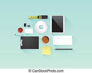 apartamento, vetorial, jogo, escritório, ícone