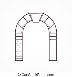 apartamento, vetorial, linha, arco, redondo, ícone
