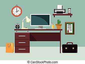 apartamento, vetorial, local trabalho, ilustração